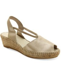 Andre Assous - Dainty Metallic Suede Espadrille Wedge Sandals - Lyst