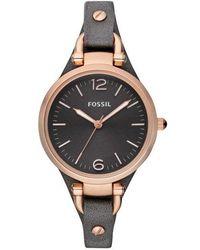 Fossil - Georgia Black Leather Watch - Lyst
