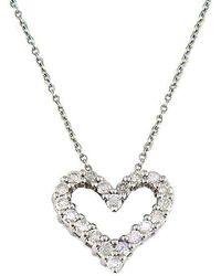 Effy - Classique 14k White Gold Diamond Heart Pendant Necklace - Lyst
