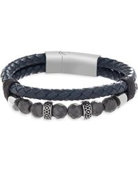 Lord + Taylor - Stainless Steel & Leather Beaded Bracelet - Lyst
