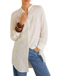 Mango - Mandarin-collared Linen Shirt - Lyst