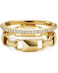 Michael Kors Mercer Link Double Row Sterling Silver Ring In 14k Gold - Plated Sterling Silver