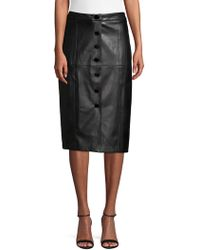 Karl Lagerfeld - Faux-leather Buttoned Pencil Skirt - Lyst