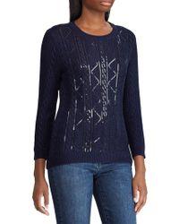 Lauren by Ralph Lauren Crewneck Sequin-trimmed Sweater