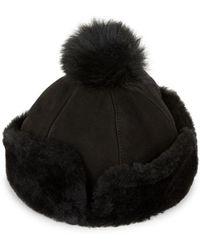 UGG - Shearling Fur Pom Hat - Lyst