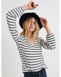Lucky Brand - Stripe Bell Sleeve Top - Lyst