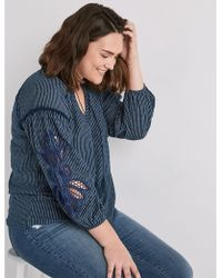 Lucky Brand - Cutout Stripe Peasant - Lyst