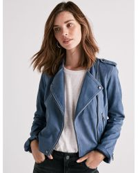 Lucky Brand | Washed Leather Moto Jacket | Lyst