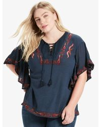 Lucky Brand | Lace Up Embroidered Peasant Top | Lyst