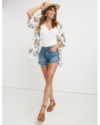 Lucky Brand - Print And Embroidery Mix Kimono - Lyst