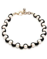 Lulu Frost - Black Velvet + White Pearl Choker - Lyst