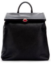 Lulu Guinness   Black Grainy Leather Medium Jasmina Backpack   Lyst