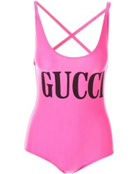 Gucci - Print Cross Back Swimsuit - Lyst
