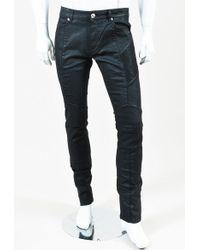 Balmain | Fw15 Black Waxed Denim Skinny Biker Jeans | Lyst