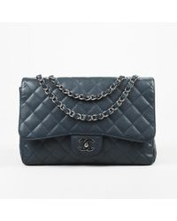 9c504af345d4 Lyst - Chanel Metallic Leather 2.55 Reissue Jumbo Classic Shoulder ...