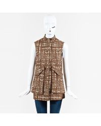 Lela Rose - Brown Beige Wool Blend Patterned Zip Up Vest - Lyst
