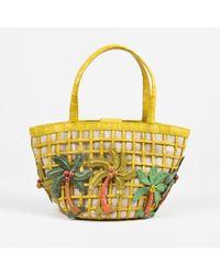 Nancy Gonzalez - Yellow Crocodile Palm Tree Embellished Small Tote Bag - Lyst