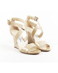 784746ec8f Lyst - Jimmy Choo Fearne Patent Crisscross Wedge Sandal in Natural