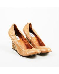 Lanvin - Beige Leather Stamped Snakeskin Round Toe Wedges - Lyst