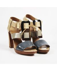 Hermès - Beige Gray Brown Patent Leather Caged Sandals - Lyst