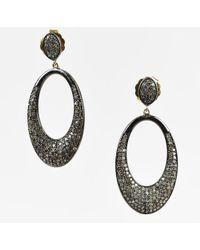 Bavna - Sterling Silver 10k/14k Yellow Gold Diamond Drop Earrings - Lyst