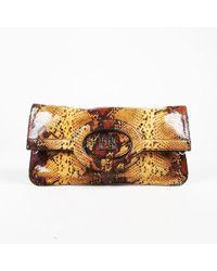 ESCADA - Brown Stamped Snakeskin Leather Front Flap Shoulder Bag - Lyst