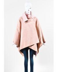 Ralph Lauren - Purple Label Light Pink Lamb Suede Wool & Cashmere Cape - Lyst