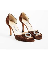 a78a52520373 Manolo Blahnik - Brown Pleated Satin Crystal Embellished Pumps - Lyst