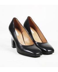 Dries Van Noten - Black Leather Square Toe Pumps - Lyst
