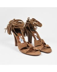 Moschino - Tan Suede Lace Up Fringe Tassel Heeled Sandals - Lyst