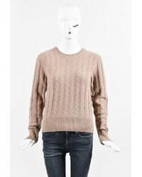 Céline | Oatmeal Beige Cashmere Cable Knit Long Sleeve Sweater | Lyst