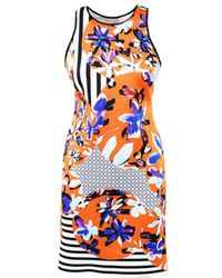 Clover Canyon - Orange Multicolor Stretch Floral Print Bodycon Dress - Lyst