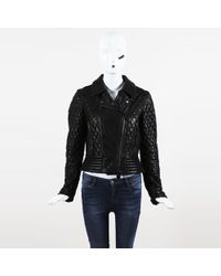 Burberry Brit - Black Leather Quilted Moto Jacket - Lyst