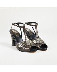 "Calleen Cordero - Grey & Black Leather Embellished ""katra"" Sandals - Lyst"