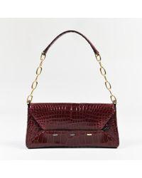 VBH - Dark Red Genuine Alligator Flap Manila Clutch Bag - Lyst