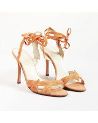 Brian Atwood - Orange Suede Leaf Applique Open Toe Sandals - Lyst