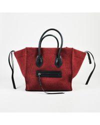 "Céline - Red & Black Wool Felt & Leather Medium ""phantom Luggage"" Tote Bag - Lyst"