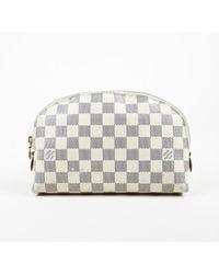 "Louis Vuitton - Damier Azur Coated Canvas ""cosmetic Pouch Pm"" Bag - Lyst"