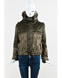 Dior | Green Nylon Blend Pekan Fur Hooded Puffer Jacket | Lyst
