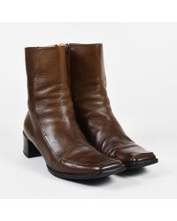 Hermès - Brown Grained Leather Square Toe Low Heel Boots Sz 40 - Lyst