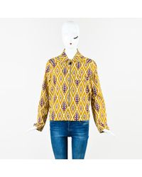 Marni - Olive Green Brown Leaf Diamond Print Zip Up Long Sleeve Shirt Top - Lyst