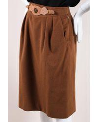 Hermès - Vintage Light Brown Cashmere Leather Belted Pencil Skirt - Lyst