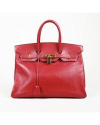 Hermès Vintage Birkin 35 Courchevel Bag - Red