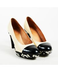 Dries Van Noten - Cream Black & White Leather Embroidered Cap Toe Pumps - Lyst
