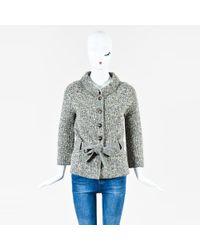 Dior - Black Beige Metallic Virgin Wool Blend Belted Cardigan Sz 40 - Lyst