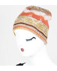 Missoni - Foulard Multicolor Wool   Mohair Blend Knit Striped Beanie Hat -  Lyst 97f0d7a7eb92