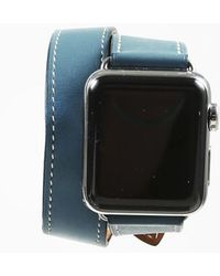 "Hermès - X Apple ""series 3"" Eperon D'or Marine Calf Leather Watch - Lyst"