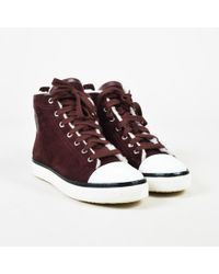 Hermès - Burgundy Red Suede & Shearling Lace Up High Top Sneakers - Lyst