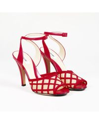 Moschino - Red Leather Nude Mesh Peep Toe Pumps - Lyst