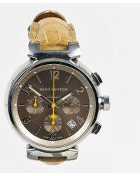 "Louis Vuitton - Stainless Steel Alligator Chronograph ""tambour"" Watch - Lyst"